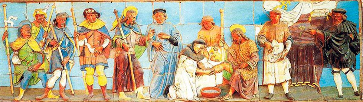 Grupo de peregrinos medieval