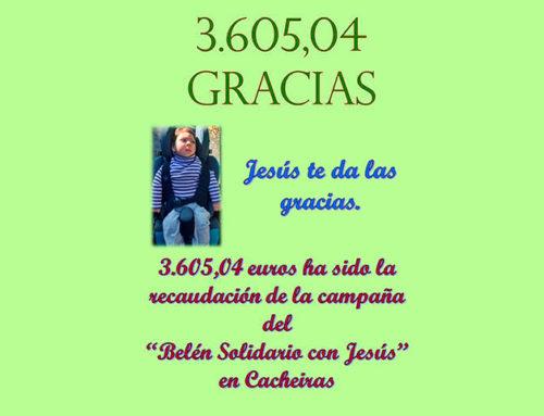 """El Belén Solidario de Cacheiras recauda 3.605,04 euros para """"Jesús"""""""