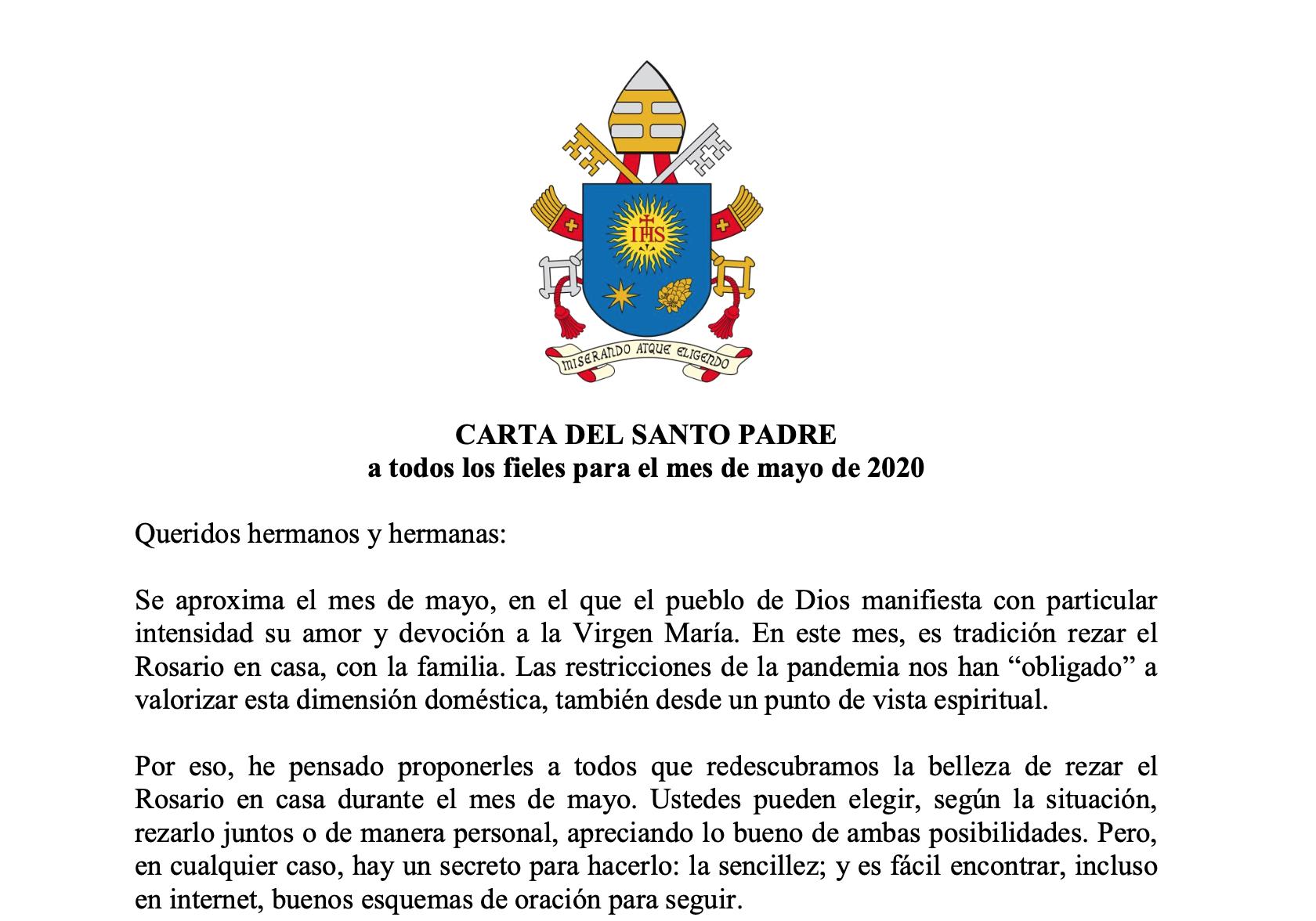 CARTA DEL SANTO PADRE a todos los fieles para el mes de mayo de 2020